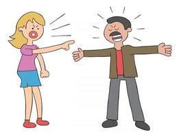 femme et mari de dessin animé en colère et se disputant, illustration vectorielle vecteur