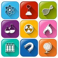 Icônes d'objets scientifiques vecteur