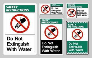 les instructions de sécurité ne s'éteignent pas avec le signe du symbole de l'eau vecteur