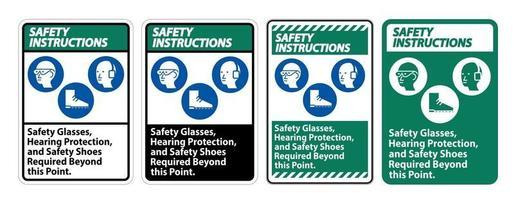 lunettes de sécurité, protection auditive et chaussures de sécurité vecteur