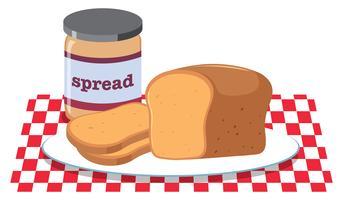 Tartinade au pain et au beurre d'arachide vecteur