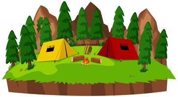 Camping isolé sur fond blanc