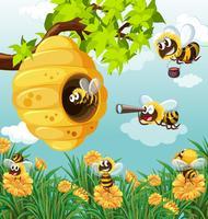Beaucoup d'abeilles volant dans le jardin vecteur