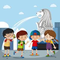 Quatre enfants au merlion à Singapour vecteur
