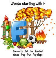 Conception d'affiche pédagogique pour les mots commençant par F vecteur