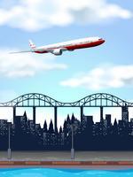 Un avion au-dessus de la ville
