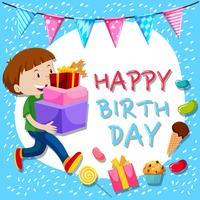 Modèle de carte d'anniversaire avec garçon et cadeaux vecteur