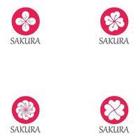définir le modèle de conception de logo icône fleur sakura vecteur