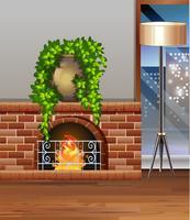 Chambre avec cheminée et lanterne vecteur