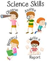 Les enfants et différentes compétences scientifiques vecteur