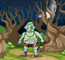 Zombie effrayant en scène vecteur