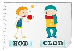 Adjectif chaud et froid vecteur