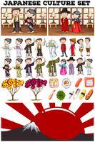 Culture asiatique avec des gens en costume vecteur