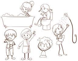 Enfants toilettage vecteur