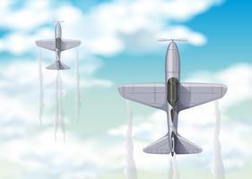 Vue aérienne de deux jets de combat vecteur