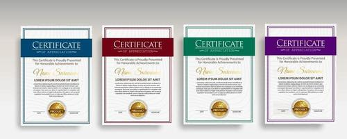 modèle de certificat moderne de diplôme premium vecteur