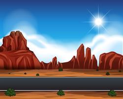 Scène de paysage de route de désert vecteur