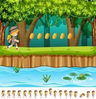 Fille de conception de jeu dans la jungle