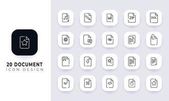 pack d'icônes de document incomplet de dessin au trait. vecteur