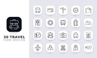 pack d'icônes de voyage incomplet de dessin au trait. vecteur
