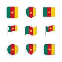 ensemble d'icônes du drapeau du cameroun vecteur