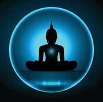 Silhouette de bouddha noir sur fond bleu ray foncé vecteur