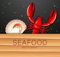 Une bannière de restaurant de fruits de mer vecteur