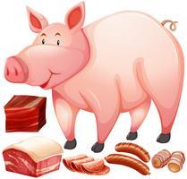 Produit à base de porc et de viande vecteur