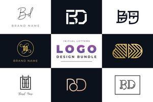 ensemble de lettres initiales de collection création de logo bd. vecteur