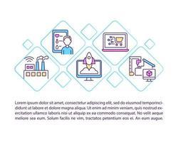 icônes de ligne de concept d'ingénierie moderne avec texte vecteur