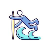 icône de couleur rvb technique de surf superman vecteur