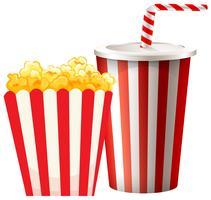 Popcorn en boîte et tasse de boisson vecteur