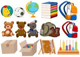 Différents types de jouets et de papeterie