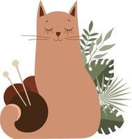 illustration vectorielle d'un chat avec des pelotes de laine pour tricoter vecteur