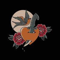 avaler des roses d'amour de poignard avec le style de tatouage traditionnel de la vieille école vecteur
