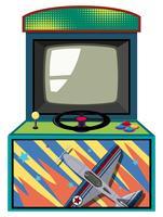 Boîte de jeu d'arcade avec jet volant vecteur
