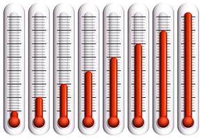 Ensemble de thermomètres sur blanc vecteur