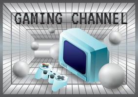joystick de canal de jeu avec fond d'ordinateur vecteur