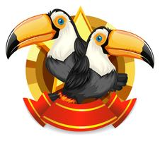 Conception de bannière avec deux oiseaux toucan vecteur