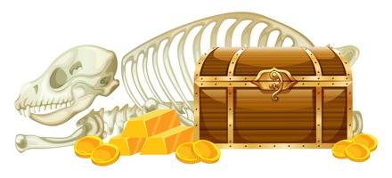 Trésor de la poitrine et squelette sur fond blanc