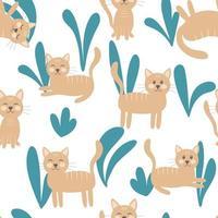 chat et feuilles illustration vectorielle transparente motif vecteur