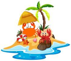 Scène de l'océan avec des crabes sur la plage