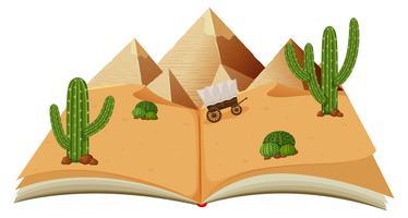 Désert avec des pyramides dans un livre vecteur
