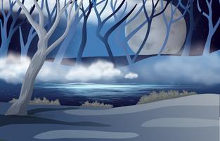 Scène de forêt avec la pleine lune et la brume vecteur