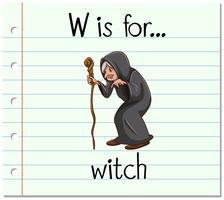 Flashcard lettre W est pour sorcière vecteur
