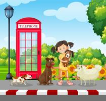 Un amoureux des chiens au parc vecteur