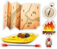 Jeu d'autocollants de camping avec canoë et carte vecteur