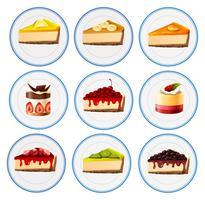 Différents types de gâteaux au fromage vecteur