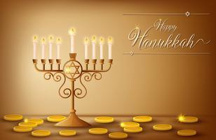 Modèle de carte Happy Hanukkah avec des pièces et des lumières vecteur