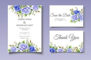 modèle de carte d'invitation de mariage floral élégant vecteur